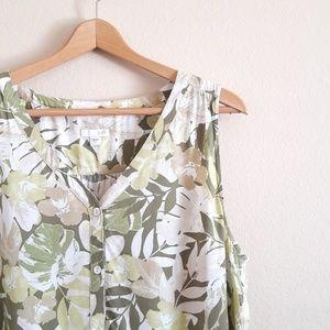 J. Jill Green & White Tropical Sleeveless Tank Top